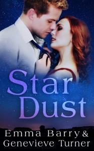 a man in white shirt with a blue tie next to a woman in a red dress with red hair. they about to kiss and floating in a starry sky over the words Star Dust, Emma Barry and Genevieve Turner