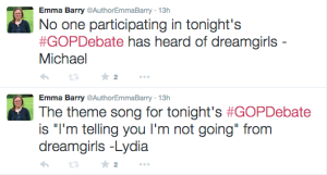 texts from Lydia and Michael re: the GOP debate and Dreamgirls