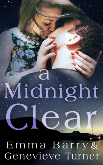 man and woman kissing in night sky over a harbor scene. book title (a midnight clear) and author names (emma barry and genevieve turner)