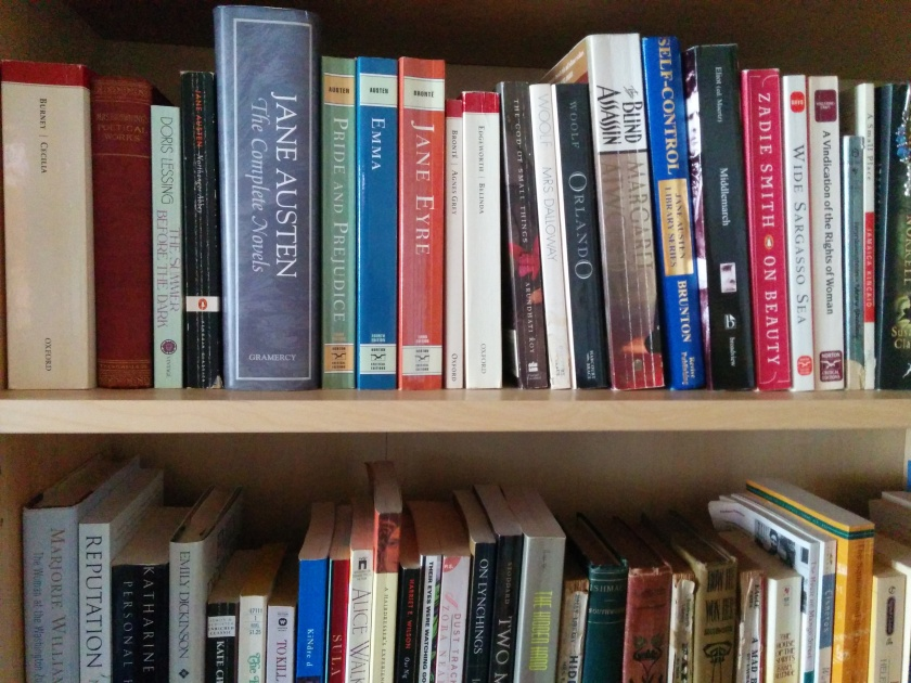 picture of books on shelves, including several titles by the Brontes and Jane Austen