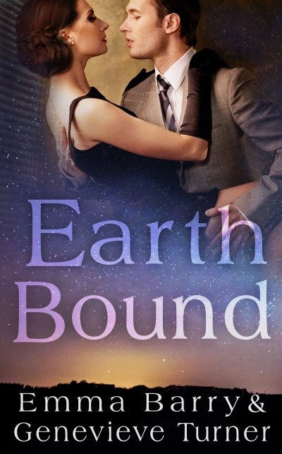 at the top of the image, a man and a woman in mid century clothing embrace. the middle contains the book title (Earth Bound) floating above a sky full of stars. in the bottom are the author names (Emma Barry and Genevieve Turner)