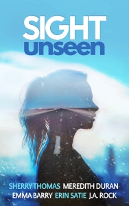 cover with sight unseen at the woman. outline of a woman with a road on her against a blurry blue background