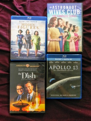 covers of four movies: hidden figures, the dish, the astronaut wives club, and apollo 13