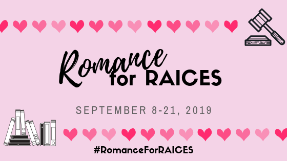 "pink image with hearts and books that reads, ""Romance for RAICES, September 8 - 21, 2019"""